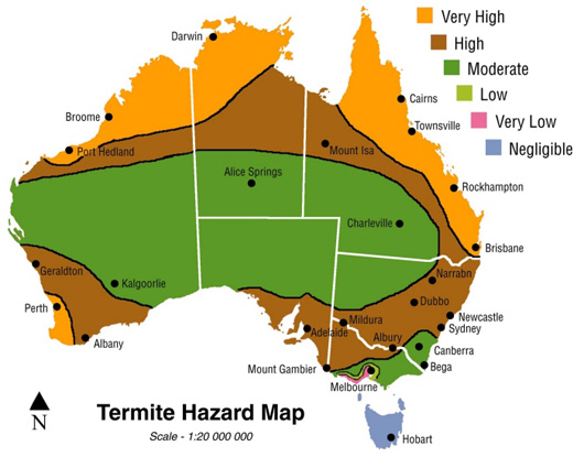 Map of termite hazard zones in Australia